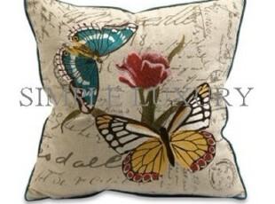 简单的奢华 现货 菲比复古刺绣蝶恋花抱枕靠垫 含芯 现货 限时9折,靠垫,