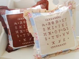 美式乡村绗缝抱枕 纯棉布艺拼布刺绣字母靠枕套 靠垫靠包田园风格,靠垫,