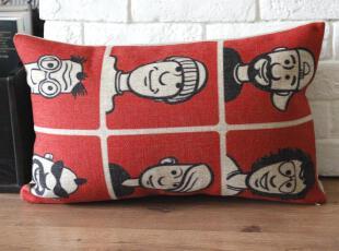 外贸宜家波普风横版车枕腰枕怀旧复古棉麻抱枕靠枕靠垫沙发垫含芯,靠垫,