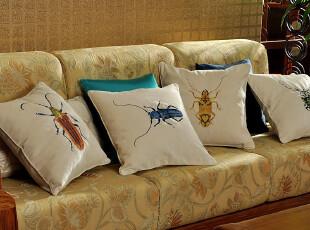 JF2831 外贸单 雪尼尔面料 高密刺绣 精品抱枕套 靠垫套 天牛,靠垫,
