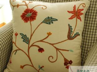 鲁绣田园美好手工刺绣 靠枕 古典 家纺抱枕 靠垫A77  45 45 外贸,靠垫,