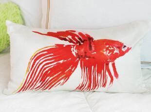 2012新款 美国高档家纺 抱枕套|靠垫套 呵护肌肤 红金鱼,靠垫,