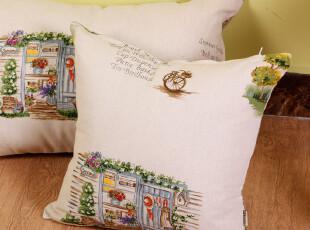 云尚轻 zakka手绘花园 美式乡村风格 棉麻浅色抱枕腰枕 靠枕4色,靠垫,