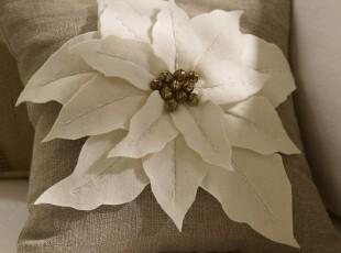 美国全进口-棉麻花瓣图案靠垫 含芯| 全美最新款 现货,靠垫,