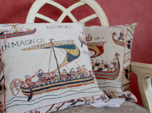 法国专柜正品方垫套 靠垫套 进口Jules Pansu 大航海时代 蓝帆,靠垫,