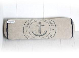 地中海风格亚麻靠枕/可拆洗腰枕/长条圆柱型锚图案抱枕(含芯),靠垫,