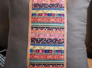 棉麻抱枕套靠枕套方枕套(不含芯)东南亚风情,靠垫,