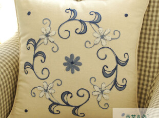 A19 鲁绣田园美好风格手工刺绣 绣花靠枕套 45 45 抱枕 送礼礼品,靠垫,