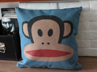 外贸宜家 大嘴猴 paul frank  复古棉麻抱枕靠垫  靠枕含芯沙发垫,靠垫,