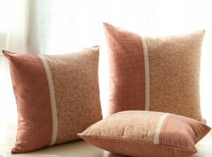 美式田园/乡村 沙发靠垫/靠垫套/抱枕/抱枕套/靠枕 不含芯灰红色,靠垫,