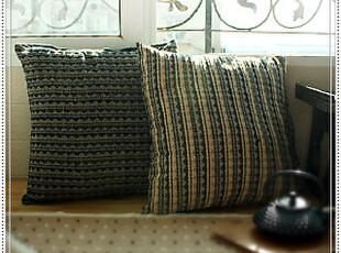 欧美余单  千层波纹全棉色织精致靠垫套2色45*45,靠垫,