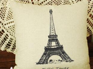 埃菲尔铁塔抱枕套 浪漫情侣靠垫 棉麻法国巴黎铁塔靠枕 送枕芯,靠垫,