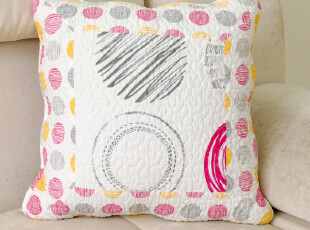 田园生活 粉圈圈 全纯棉田园布艺 绗缝抱枕套 沙发靠垫套 45*45cm,靠垫,