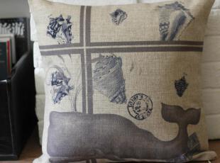 外贸 美式鲸鱼复古怀旧风抱枕靠枕靠垫沙发垫 含芯,靠垫,