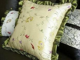 韩国正品代购 高贵绿色木耳边沙发靠垫/抱枕 靠枕 绿色,靠垫,