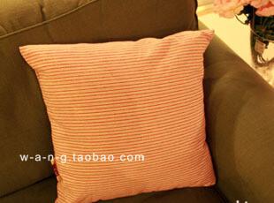 WANG 【欢迎回家】棉麻抱枕 靠枕 条纹 红色 方形,靠垫,