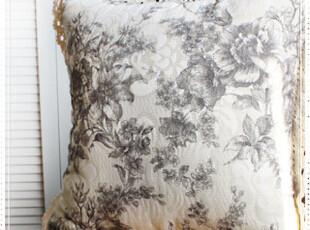 金丝 提绣 欧式 花卉 全棉钩花花边靠垫套,靠垫,