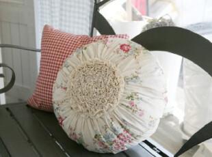 韩国田园小碎花手工百褶花瓣抱枕/靠垫 圆形抱枕 靠枕,靠垫,