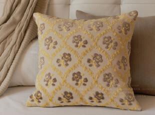 定制/方枕方垫靠枕套靠垫套/菱格黄玫瑰/卢梭,靠垫,
