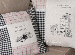 旅行的意义~拼布风zakka 棉麻 相机/旅行箱 靠垫套/抱枕套,靠垫,