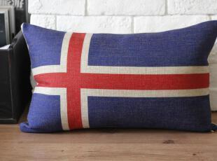 外贸 宜家 欧美复古怀旧冰岛国旗抱枕腰枕车枕靠枕靠垫含芯地中海,靠垫,