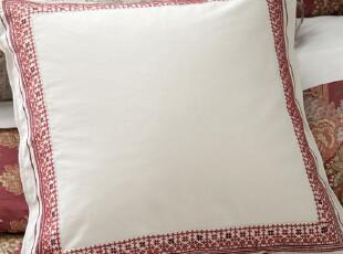 美国直发-最新款红色绣花边欧枕套|床用靠背|大靠垫 有配套床品,靠垫,
