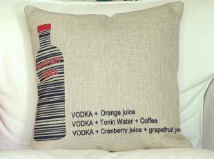 外贸 宜家卡通创意 VODKA 棉麻抱枕 办公室靠垫靠枕沙发垫含芯,靠垫,