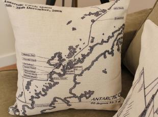 外贸美式美克美家高级棉麻抱枕靠垫沙发垫复古地图二靠枕含芯宜家,靠垫,