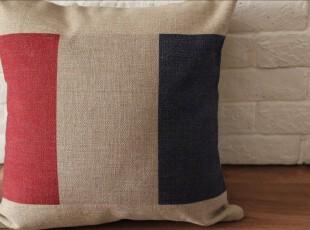 外贸 简约 法国国旗 复古美式棉麻抱枕 靠垫 沙发垫靠枕(含芯),靠垫,