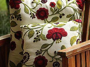 手工刺绣/绣花唯美清新田园绿靠垫套沙发靠枕床头抱枕靠垫坐垫,靠垫,