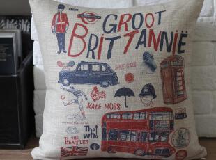 外贸 宜家英伦 复古涂鸦英国伦敦 棉麻抱枕 靠垫 沙发垫靠枕,靠垫,