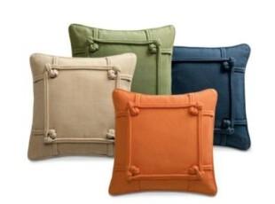 简单的奢华 素色立体如意结纯棉正方形靠枕靠垫 含芯  限时9折,靠垫,