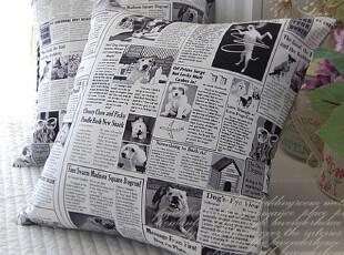 『韩国网站代购』家有小狗 设计感主题报纸靠垫,靠垫,