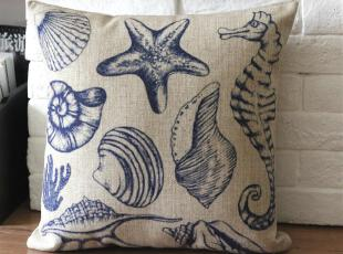 外贸 地中海贝壳美式复古美式棉麻抱枕 靠垫 沙发垫靠枕(含芯),靠垫,