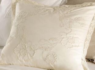美国进口-米色重工亚麻绣花Flora 欧枕套|床用靠垫  正方,靠垫,