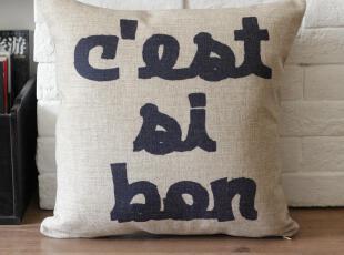外贸宜家英伦法文字母抱枕靠垫靠枕沙发垫复古怀旧 含芯,靠垫,