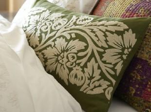【纽约下城公园】莉迪亚纯净石榴花刺绣腰枕套/靠垫套(蓝/绿),靠垫,