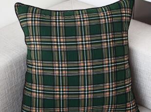 致惠  纯棉竹节棉 欧式田园风 靠垫 抱枕 抱枕套 苏格兰绿格子,靠垫,