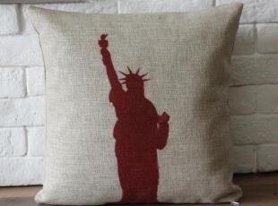 外贸宜家 美式怀旧复古创意自由女神棉麻靠枕抱枕靠垫沙发垫,靠垫,
