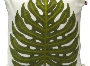 【敦品】棉线刺绣 民族风情 纯棉靠垫/抱枕 美式 典雅大树叶 绿,靠垫,