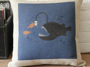 外贸北欧宜家创意卡通地中海复古怀旧抱枕靠垫靠枕沙发垫含芯,靠垫,