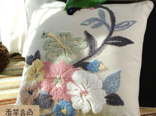 【香芋谷色】鲁绣田园美好风格绒绣刺绣A120 靠枕 可爱 抱枕 靠垫,靠垫,