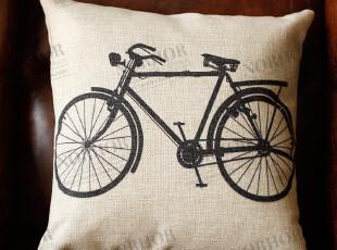 美克美家美式乡村/天然亚麻靠垫抱枕(含内胆)/vintage bicycles,靠垫,