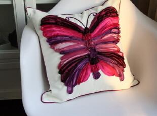 【宜居优品】出口品质高档亚麻刺绣靠垫/抱枕  全手工盘绣蝴蝶,靠垫,