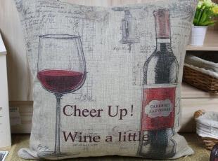 北欧/宜家简约现代外贸美式田园 浪漫风情葡萄酒杯 棉麻抱枕靠垫,靠垫,