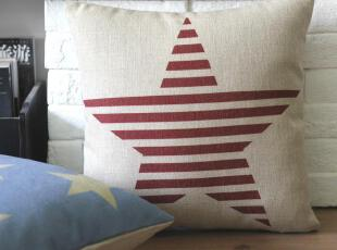 外贸 英伦复古怀旧比邻乡村条纹五角星抱枕靠枕腰枕沙发垫 含芯,靠垫,