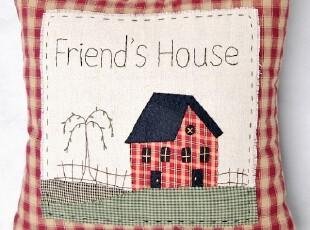 布艺家纺 田园小屋 手工刺绣环保棉麻靠垫抱枕/40cm4色,靠垫,