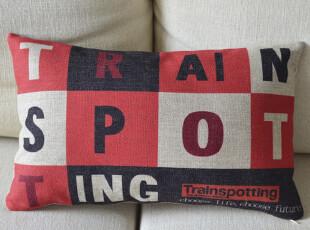 外贸宜家创意复古英伦北欧怀旧 猜火车 棉麻沙发靠垫抱枕腰枕含芯,靠垫,