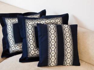 45*45cm 古法织布 青花瓷靠垫 抱枕 靠枕 靠垫 (含芯),靠垫,