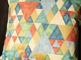 [独家高端]英国进口布料纯棉抱枕 艺术感复古霹雳几何菱形靠垫,靠垫,